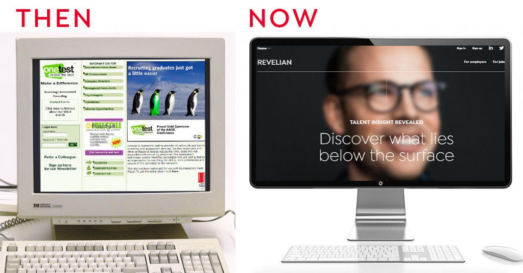 Then and now comparison of revelians website
