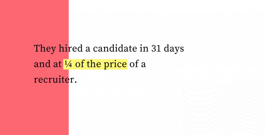 They hired a candidate in 31 days and at 1/4 of the price of a recruiter.